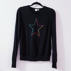 GAP Star Crewneck Pullover Black Sweater Size XL